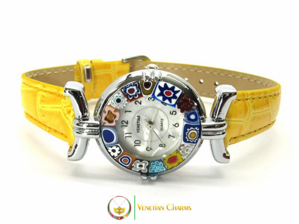 One Lady Chrome Murano Glass Watch - Yellow