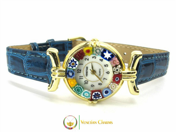 One Lady Gold Murano Glass Watch - Blue