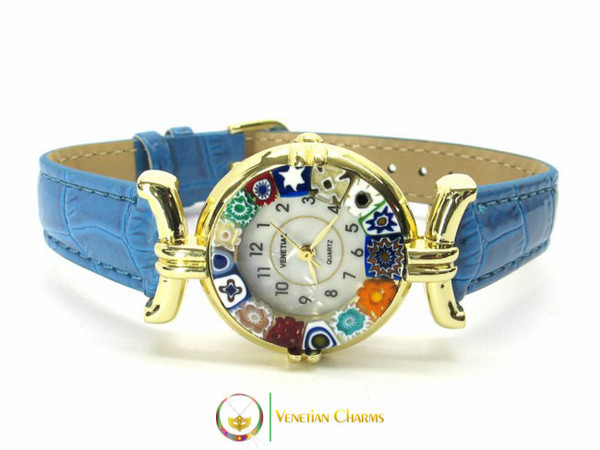 One Lady Gold Murano Glass Watch - Dark Azure