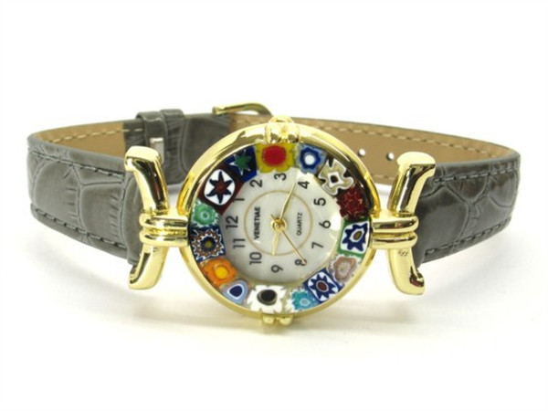 One Lady Gold Murano Glass Watch - Grey