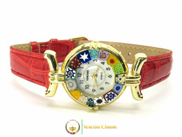 One Lady Gold Murano Glass Watch - Red