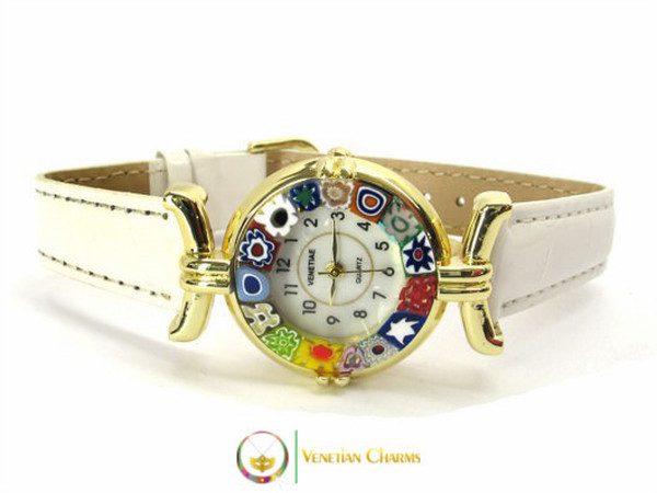 One Lady Gold Murano Glass Watch - White
