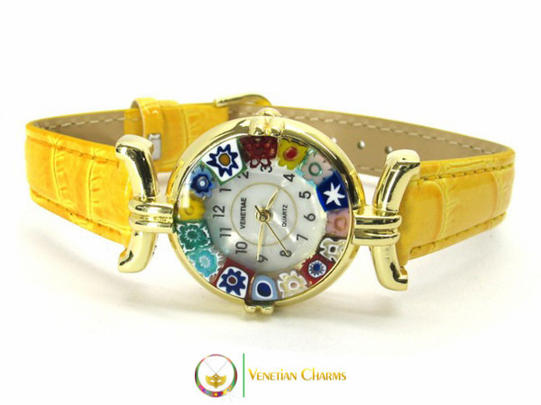 One Lady Gold Murano Glass Watch - Yellow