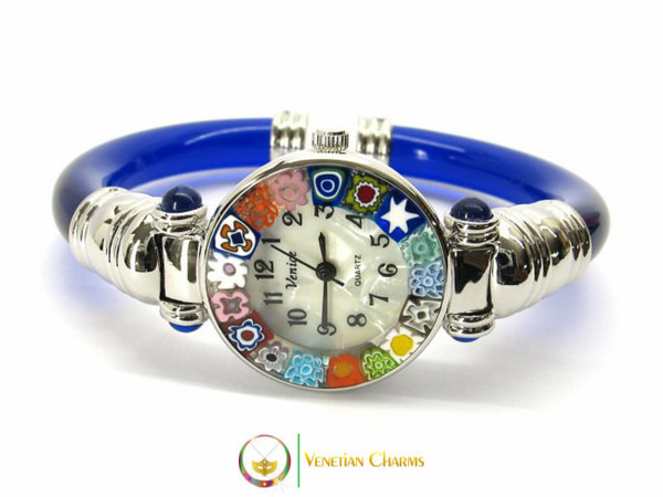 Serenissima Chrome Murano Glass Watch - Blue