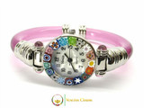 Serenissima Chrome Murano Glass Watch - Fuschia
