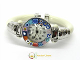 Serenissima Chrome Murano Glass Watch - Ivory