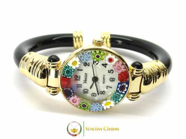 Serenissima Gold Murano Glass Watch - Black