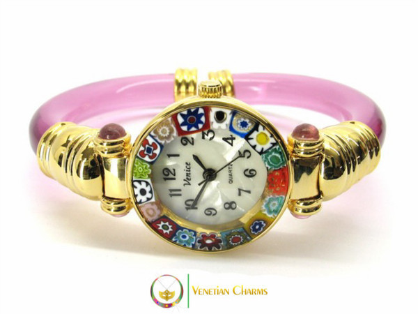 Serenissima Gold Murano Glass Watch - Fuschia