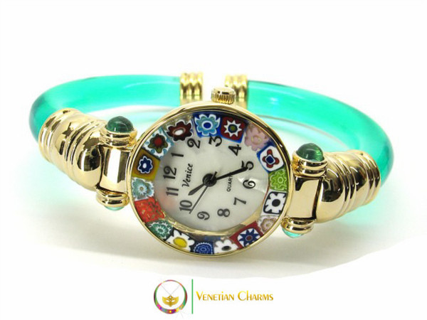 Serenissima Gold Murano Glass Watch - Green