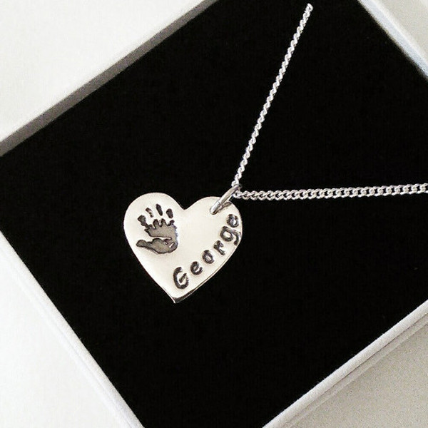 Single Handprint Silver Pendant - Chain Style Snake