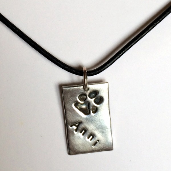 Silver Rectangle Pawprint & Name, Greek Leather Cord