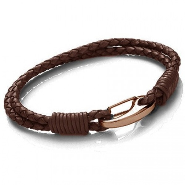 Brown Leather 2-Strand Bracelet, Rose Gold Shrimp Clasp, 19cm