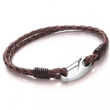 Brown Leather 2-Strand Bracelet, Shrimp Clasp, 19cm