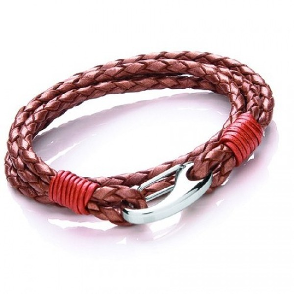 Copper Leather 4-Strand Double Wrap Bracelet, Shrimp Clasp, 19cm