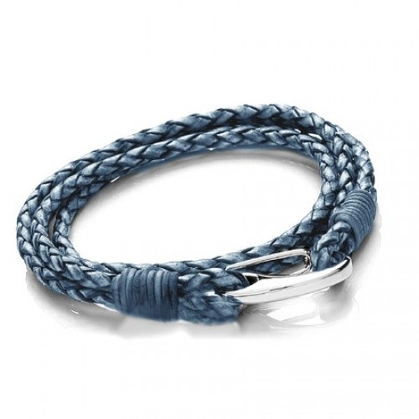 Denim Leather 4-Strand Double Wrap Bracelet, Shrimp Clasp, 20cm