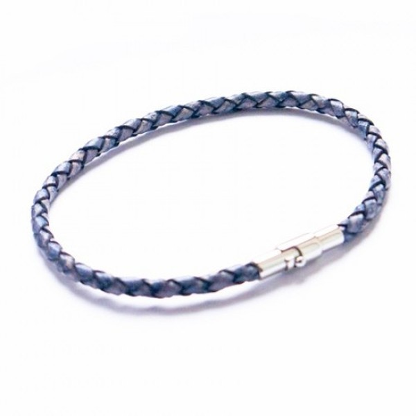 Denim Leather Bracelet, Bayonet Clasp, 19cm