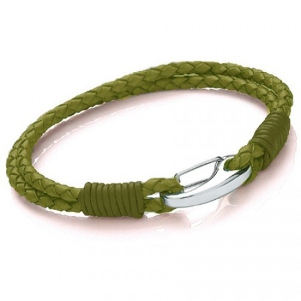 Green Leather 2-Strand Bracelet, Shrimp Clasp, 19cm