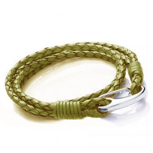 Green Leather 4-Strand Double Wrap Bracelet, Shrimp Clasp, 19cm