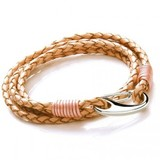 Natural Leather 4-Strand Double Wrap Bracelet, Shrimp Clasp, 19cm