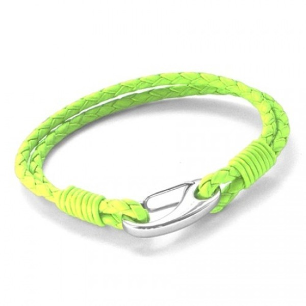 Neon Green Leather 2-Strand Bracelet, Shrimp Clasp, 19cm