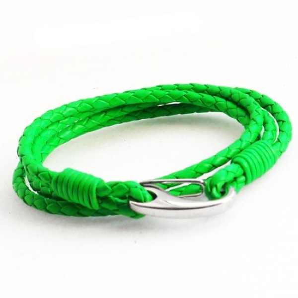 Neon Green Leather 4-Strand Double Wrap Bracelet, Shrimp Clasp, 19cm