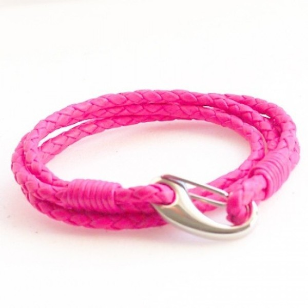 Neon Pink Leather 4-Strand Double Wrap Bracelet, Shrimp Clasp, 19cm