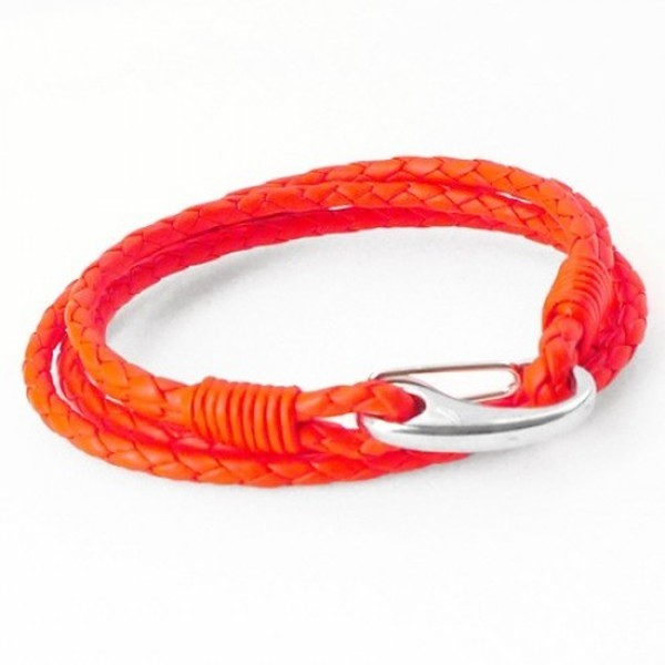 Neon Red Leather 4-Strand Double Wrap Bracelet, Shrimp Clasp, 19cm