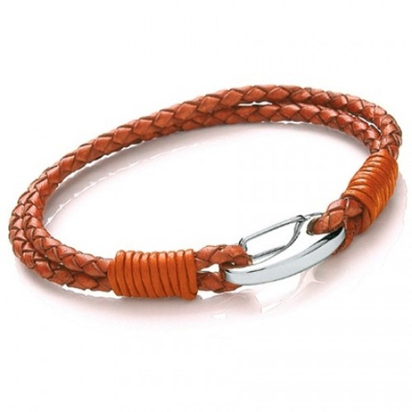 Orange Leather 2-Strand Bracelet, Shrimp Clasp, 19cm
