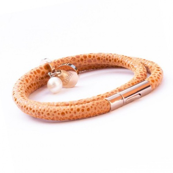 Orange Raindrop Leather Bracelet, Double Wrap, Pearl & Dsic, 19cm