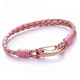 Pink Leather 2-Strand Bracelet, Rose Gold Shrimp Clasp, 19cm