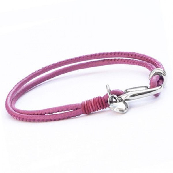 Pink Soft Lambskin Leather Bracelet, Stainless Steel Heart Charm, 19cm