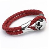 Red Leather & Stainless Steel Skull Bracelet, 19cm