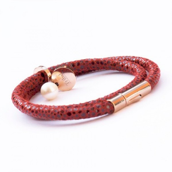 Red Raindrop Leather Bracelet, Double Wrap, Pearl & Dsic, 19cm