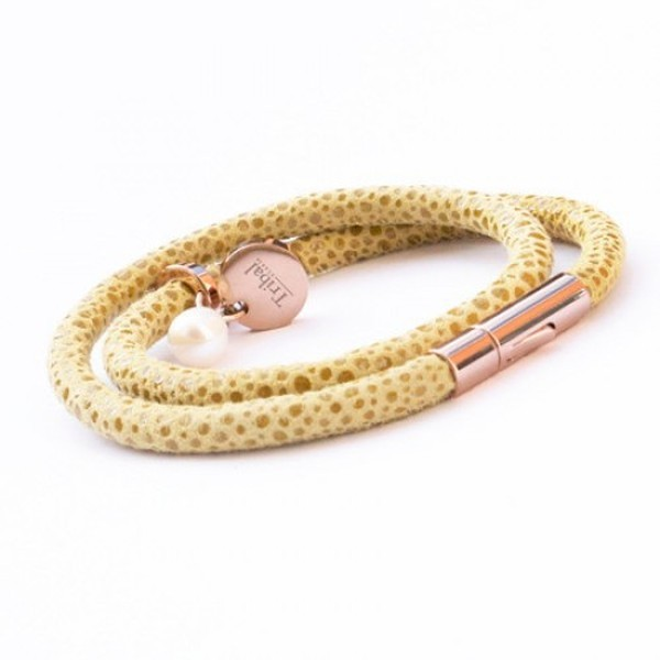 Sage Raindrop Leather Bracelet, Double Wrap, Pearl & Dsic, 19cm