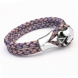 Violet Leather & Stainless Steel Skull Bracelet, 19cm