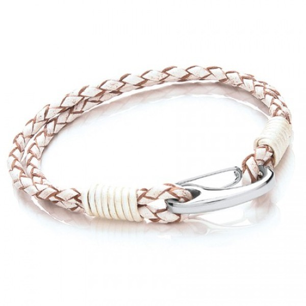 White Leather 2-Strand Bracelet, Shrimp Clasp, 19cm