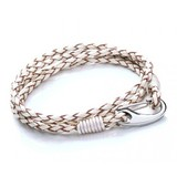 White Leather 4-Strand Double Wrap Bracelet, Shrimp Clasp, 18cm