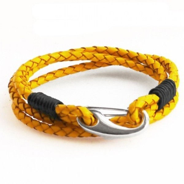 Yellow Leather 4-Strand Double Wrap Bracelet, Shrimp Clasp, 19cm