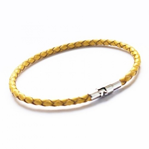 Yellow Leather Bracelet, Bayonet Clasp, 19cm