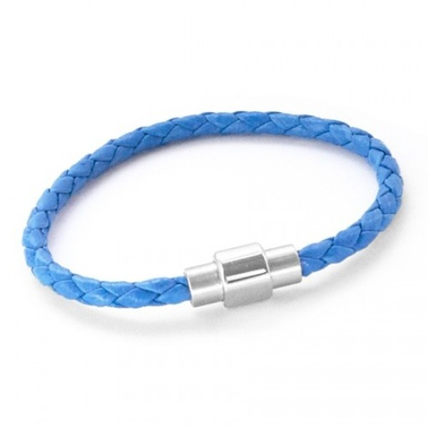 Neon Blue Plaited Leather Bracelet, Magnetic Barrel Clasp, 19cm