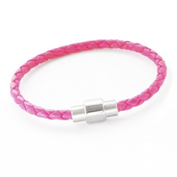 Neon Pink Plaited Leather Bracelet, Magnetic Barrel Clasp, 19cm