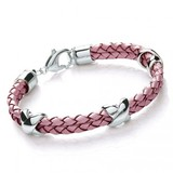 Pink Leather & S. Steel Criss-Cross Bracelet, Lobster Clasp, 20cm