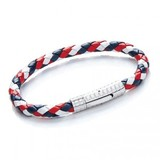 Red, White & Blue Plaited Leather Bracelet, S. Steel Clasp, 19cm