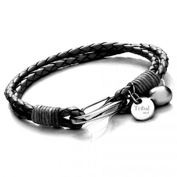 Black Leather 2-Strand Bracelet, Shrimp Clasp, Pearl & Disc, 19cm
