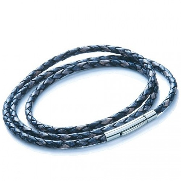 Denim Plaited Leather Necklet/3 Loop Bracelet, Rocker Clasp, 19cm