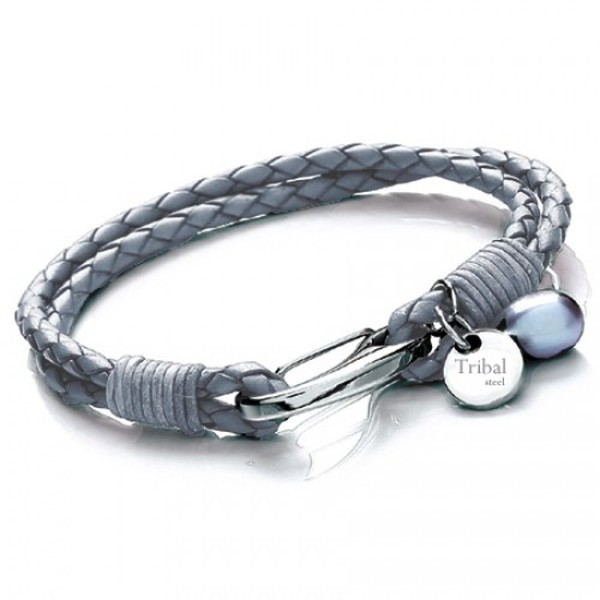 Grey Plaited Leather 2-Strand Bracelet, Shrimp Clasp, Pearl & Disc, 19cm