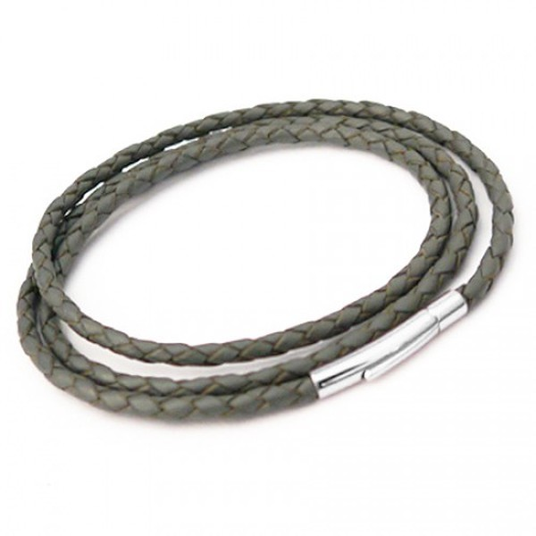 Grey Plaited Leather Necklet/3 Loop Bracelet, Rocker Clasp, 19cm