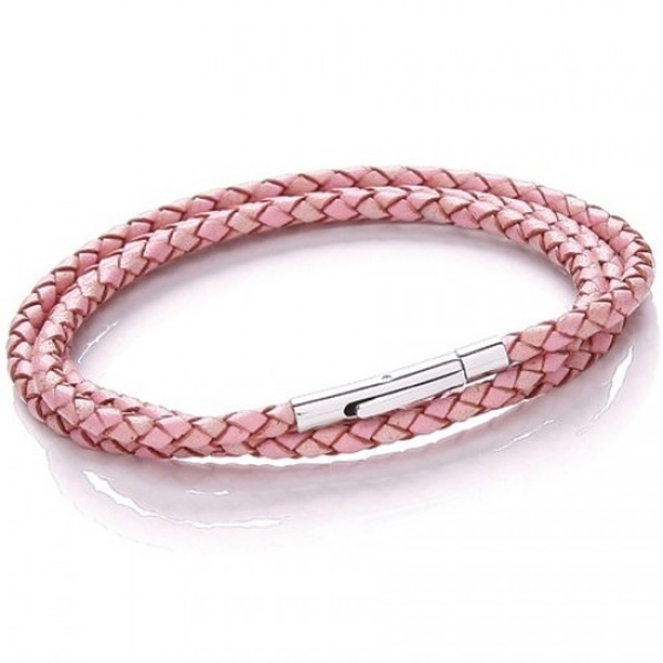 Pink Plaited Leather Necklet/3 Loop Bracelet, Rocker Clasp, 19cm
