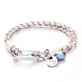 White Leather 2-Strand Bracelet, Shrimp Clasp, Pearl & Disc, 19cm