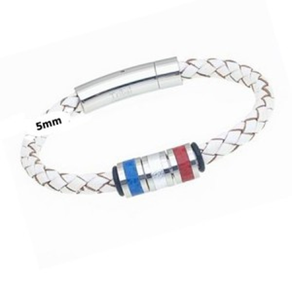 White Plaited Leather Bracelet with Red, Silver & Blue Beads, 19cm
